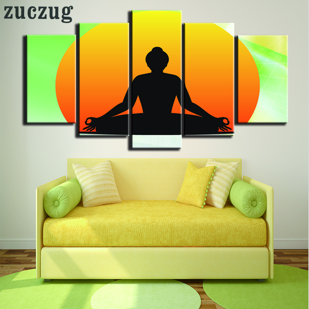 5 Panel Buddha Meditation silhouette Canvas Painting Home Decor Wall ...