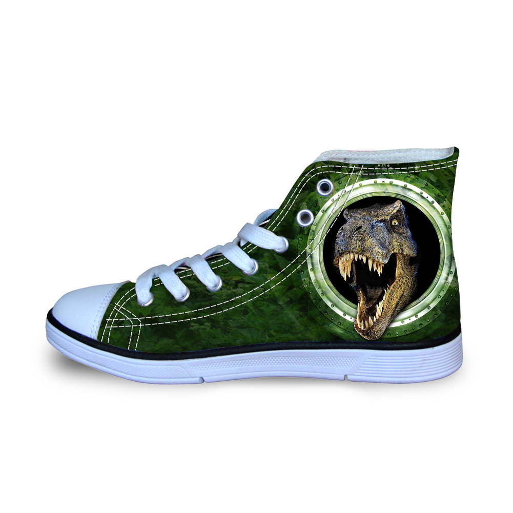 Size 29-34 Green Crazy Dinasour Printed Canvas Shoes Vulcanize Sneakers for School Boys Fashion Animals Man Flats Loafers