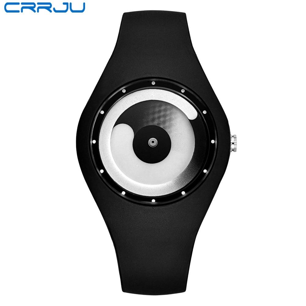 CRRJU 2017 Top Brand Fashion High Quality Casual Simple Style Silicone Strap Quartz Watch Women Men Lovers Wrist Watch