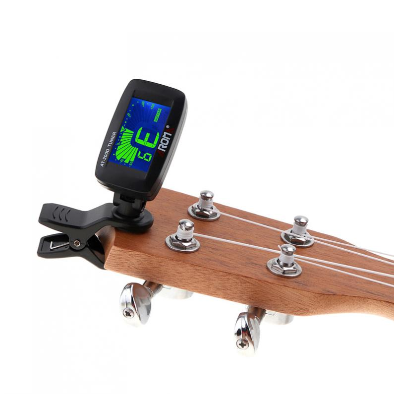 Portable Clip-on Guitar Tuner Three Colors LCD Backlight with Coin Battery for Chromatic / Guitar / Bass / Ukulele / Violin