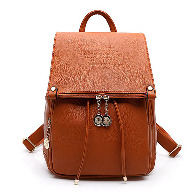 VSEN 2X PU Leather Women Backpack Casual School Bags For Teenagers Girls Female Travel Back Packs