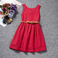 2017 New Year Kid Summer Red White Princess Casual Print Pattern Party Girls Dress Children Clothes Baby Girl Dresses With Belt