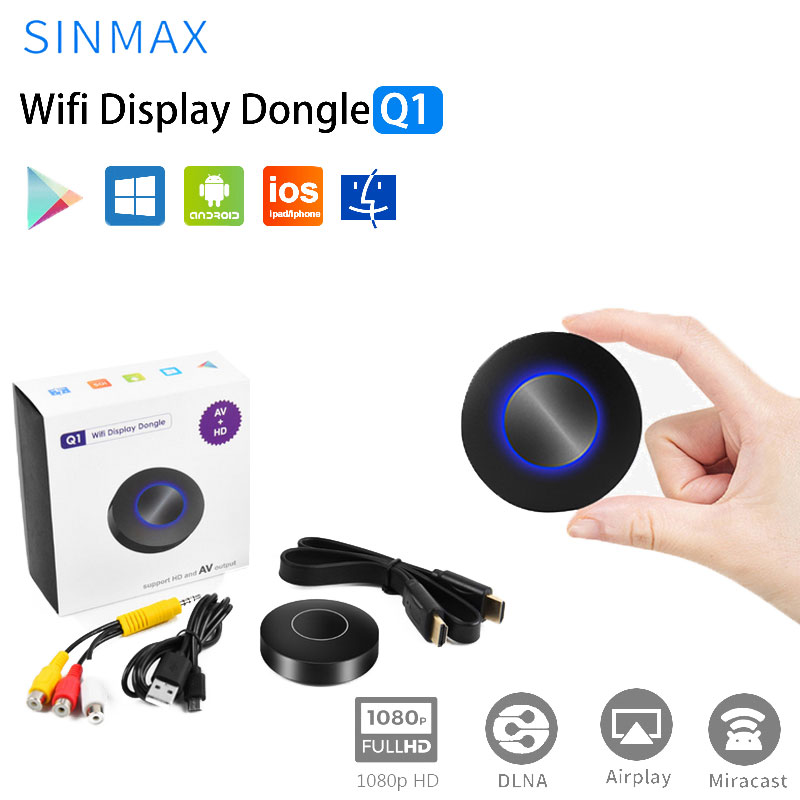 OTA Q1 Espelhamento Dongle TV Vara DLNA Miracast Airplay Wifi Dongle 1080p Media Streamer De Vídeo Saída HDMI AV RCA exibição Caixa de TV