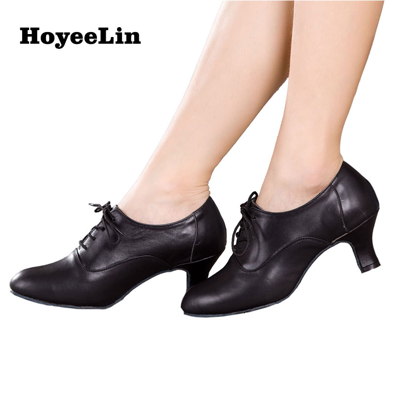Modern Women Ladies Ballroom Latin Dance Shoes Lace Up Cow Leather Tango Salsa Dancing Shoes