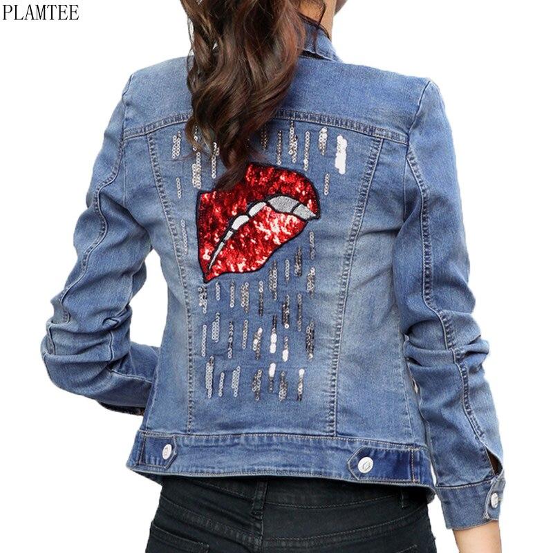 PLAMTEE Back Sequined Design Bomber Jean Jacket Women 2018 Spring Long Sleeve Short Jacket Coat Female Slim Chaqueta Mujer S~2XL