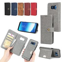 Soft Leather Case for Samsung Galaxy S6 S7 Edge S8 Plus Flip Case Removable Wallet Card Cover Stand 360 Full Protector Cases
