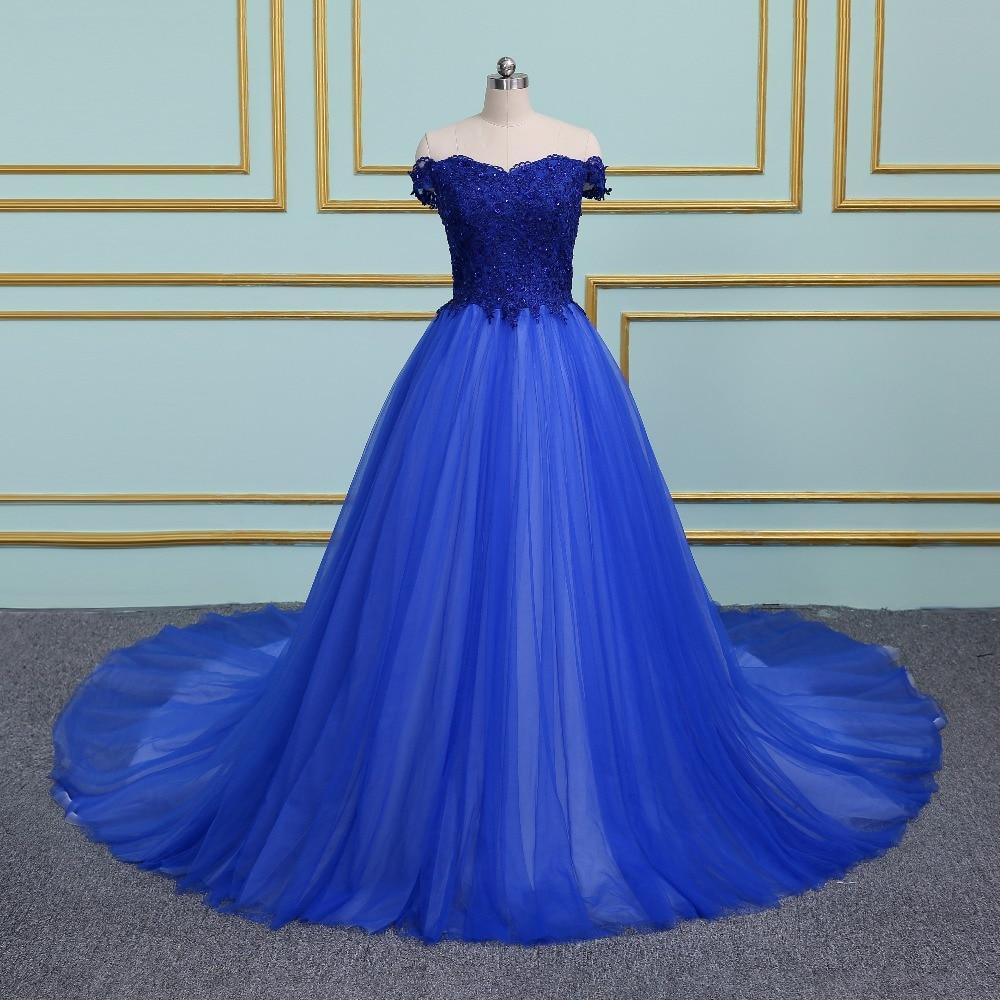 Vintage Off the Shoulder Ball Gown Prom Dresses 2018 Applique ...