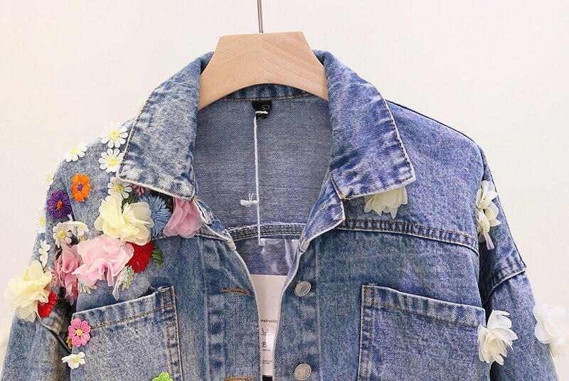 Femmes Cowboy Denim Bleu Vestes De Nouvelles Automne Appliques 2018 Fleurs Courtes Manches Solide Travail Manuel Couleur Broderie Longue Mode À qB0EHTpxw