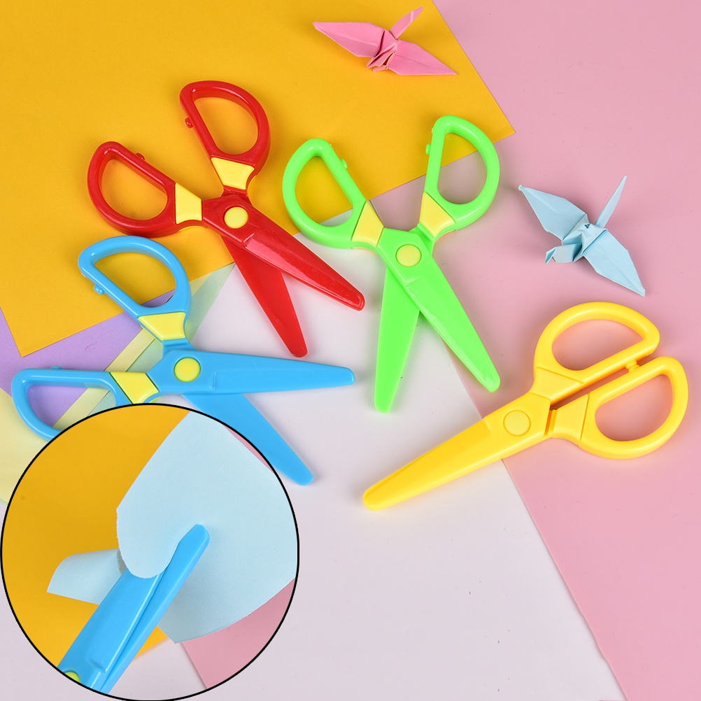 Cutting Supplies Office & School Supplies New 1 Pcs 135mm Mini Safety Round Head Plastic Scissors Student Kids Paper Cutting Minions Supplies For Kindergarten School