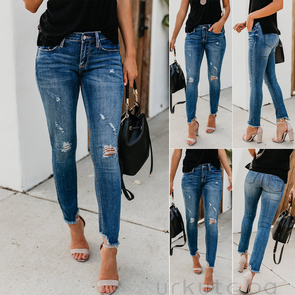 Newest Hot Women Stretch Ripped Distressed Skinny High Waist Denim Pants Shredded Jeans Trousers