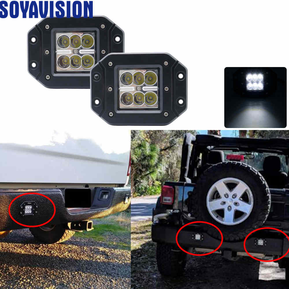 2x 3inch Flood Led Work Light Fog Reverse Cube Pods Offroad SUV ATV UTE 18W