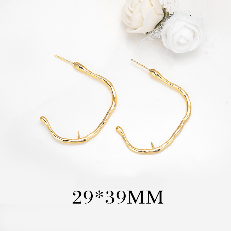 90 2PCS 29x39MM 24K Gold Color Plated Brass Fashion Stud Earrings with Hlaf Pins High Quality DIY Jewelry Making Findings in Jewelry Findings Components from Jewelry Accessories
