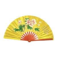 Tai chi fan espesó costillas de bambú de estilo chino tradicional abanico de oro para kungfu artes marciales Hongdolph Promoción al por mayor
