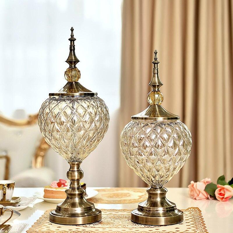 Vase en verre cristal moderne de luxe européen cadeaux de mariage créatifs américains Vase de table Articles d'ameublement décoration de la maison