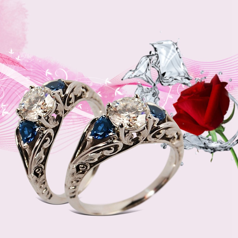 2/pcs 925 Silver Rings Women Party Luxury Blue Lab Created Stone Personality Sapphire Ring Bridal Women GFriend Lover's Size5-12