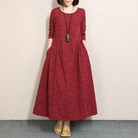 New Arrive Spring Female Big Yards Jacquard Cotton And Linen Dress Women Long Fold Show Thin