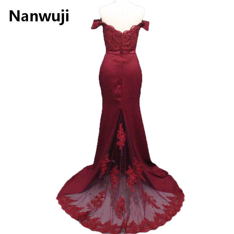 2017 Novi modni saten uvodi tamno crvena sirena prom haljina poklopac - Haljina za posebne prigode - Foto 2