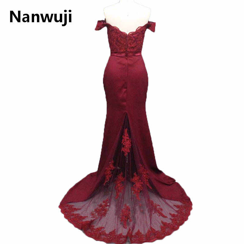341519f551d6 ... 2017 New Fashion Satin ushers Dark Red Mermaid Prom Dress Cap Sleeve Boat  Neck Lace Backless ...