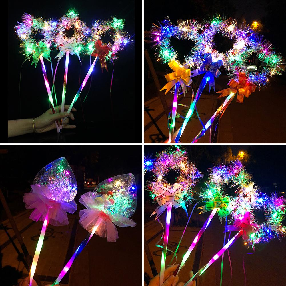Heart Star Shape Glow Stick LED Luminous Magic Wand Toy Party Concert Supplies Gift For Kids Babys
