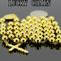 Hot Sale New Men S Stainless Steel Gold Plated Rosary Lucky Chain Necklace Women S Coat