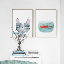 Watercolor Cartoon animal Prints Nordic Canvas Painting Cat  Fish Pictures for Kids Room,no frame