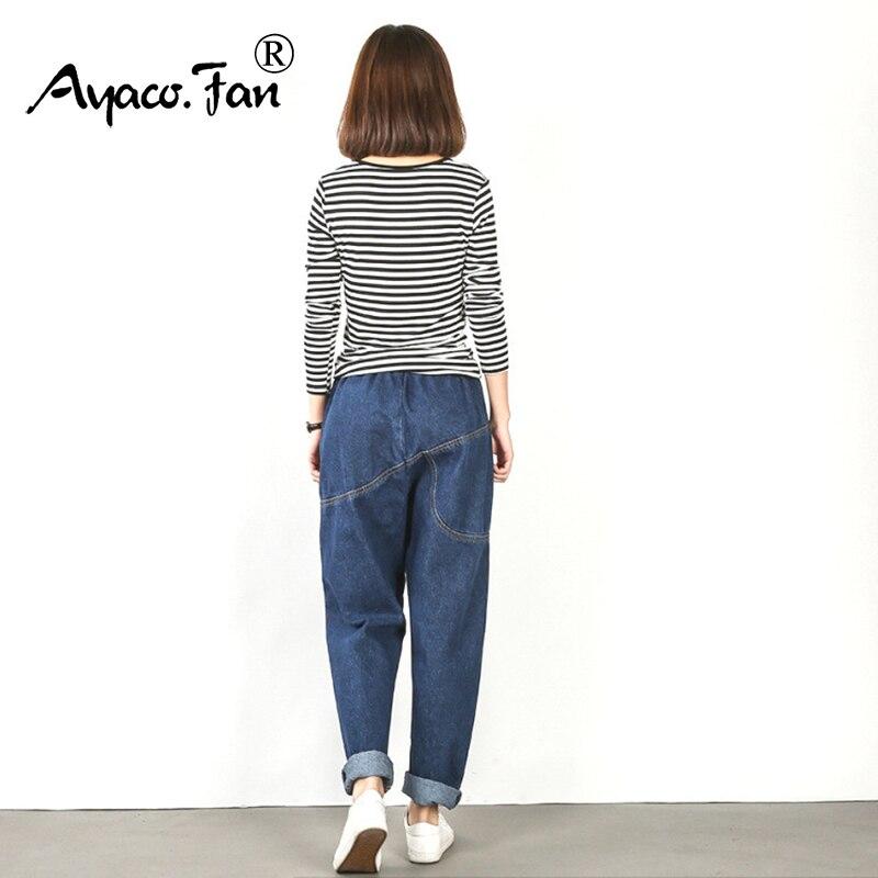 Plus Size Jeans Female 2019 Loose Ankle-Length Pants For Women Black Elastic High Waist Woman Denim Harem Pants Femme Trousers