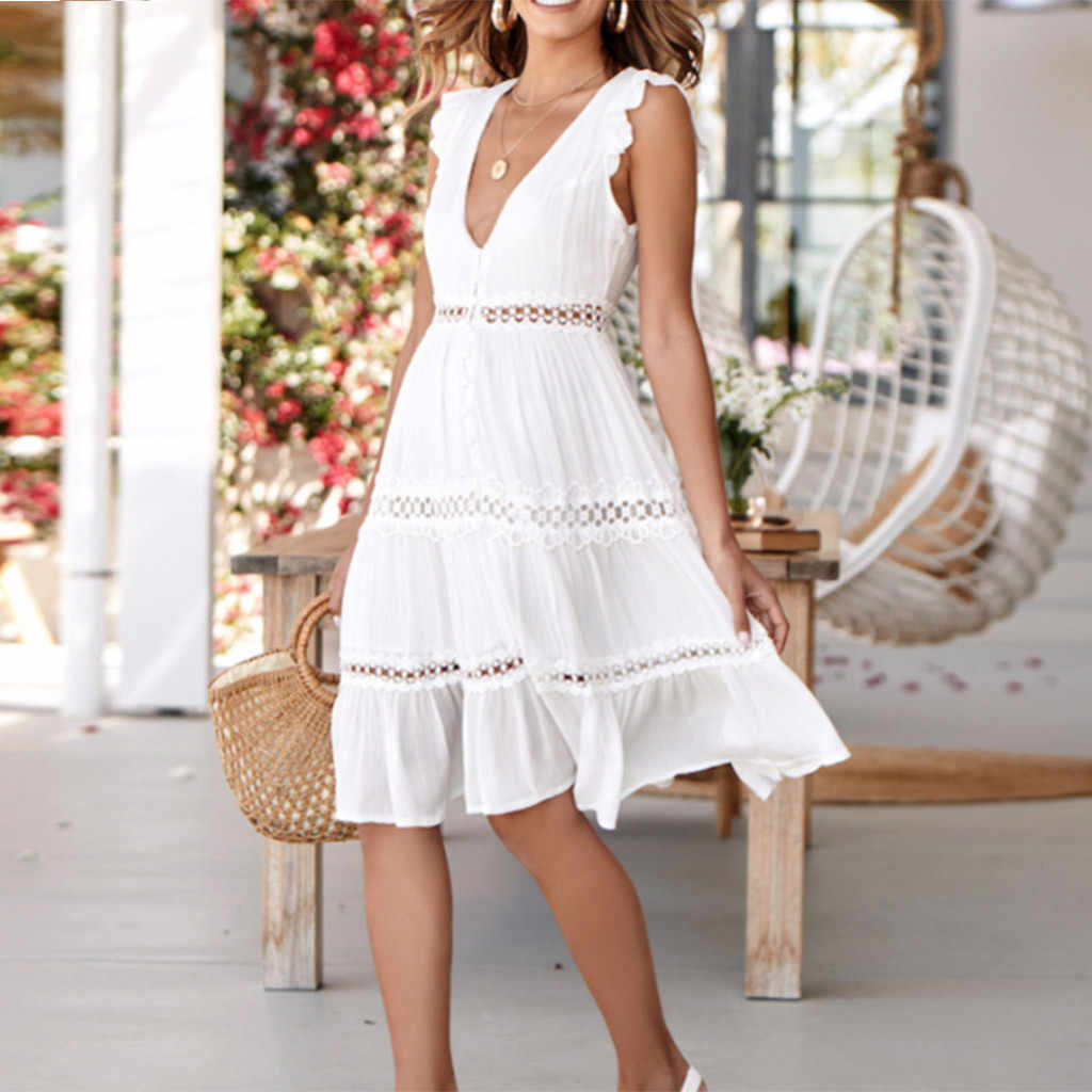Sleeveless dresses summer 2019 Hollow Out summer clothes for women Lace Patchwork Casual Party sundress female sukienka #G6