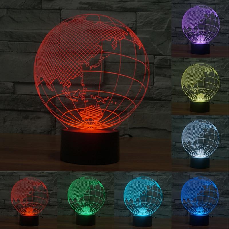 Asia Map 3D Lights Colorful LED Nightlight Creative Home Interior USB Led Night Light Gift Lamp Touch Sensor Deco Light IY803525