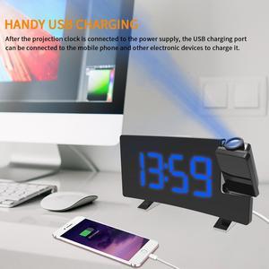 Image 5 - デジタル FM ラジオアラーム時計と投影 4 アラーム音 9 最小スヌーズ機能スリープタイマーため内務省の寝室