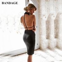 BANDAGE Summer Black Dress Halter Backless Bandage Dress High Quality Going Out Bodycon Vestidos Celebrity Party Women Boutiques