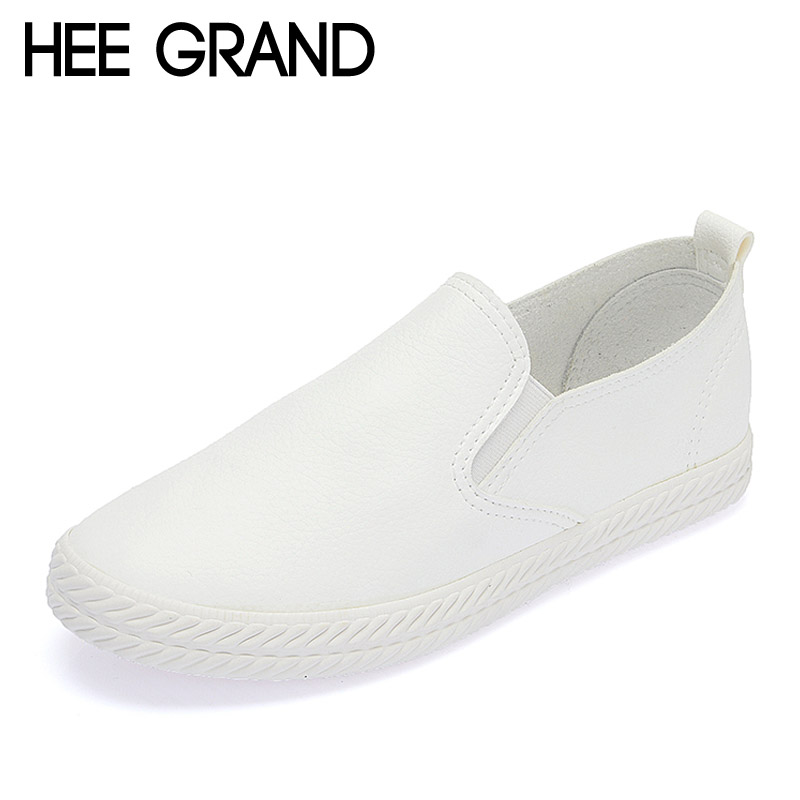 HEE GRAND Spring Loafers 2017 Casual Shoes Woman Slip On Platform Creepers Flats Solid Black White Women Flat Shoes XWD4968 hee grand 2017 gladiator sandals summer platform shoes woman slip on creepers rhinestones casual wedges women shoes xwz3547