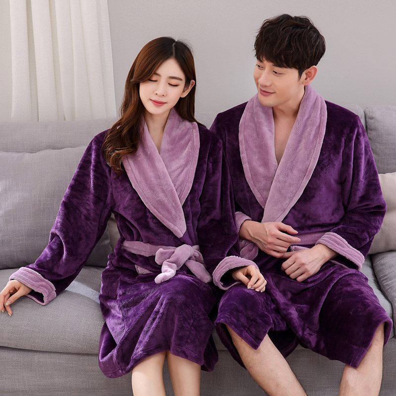 dace2c03e7 Detail Feedback Questions about Lovers Winter Kimono Bathrobes Thick Warm  Coral Fleece Flannel Long Robes Men Women Dressing Gown Autumn Winter Couple  ...