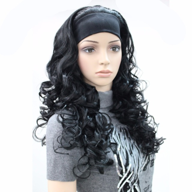 32b225bafac US $20.38 21% OFF|StrongBeauty Women's Synthetic Wig Long Curly 3/4 Hair  3/4 Black/Blonde Natural Headband Wigs -in Synthetic None-Lace Wigs from  Hair ...