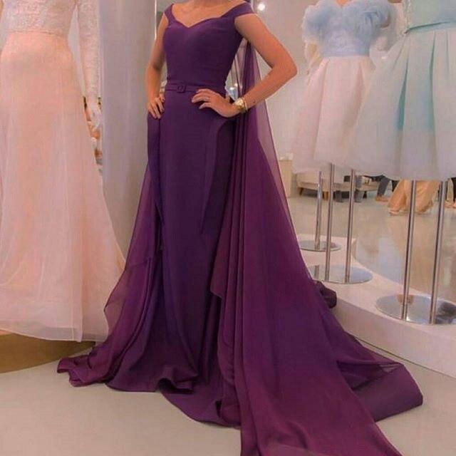 2017 Purple Kaftan   Dress   With Cape Mermaid   Evening     dress   Plus Size Sleeveless Prom   Dress   Vestido de noche Robe de soiree longue