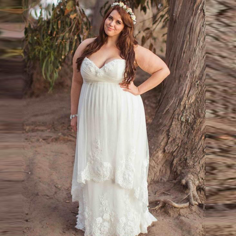 Plus size wedding dress pregnant women 2015 sweetheart for Plus size maternity wedding dresses