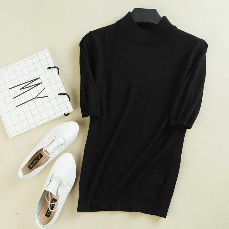 Autunno della molla di nuovo stile sottile maglia manica corta mezza manica del maglione di base maglione a collo alto delle donne sottile pullover
