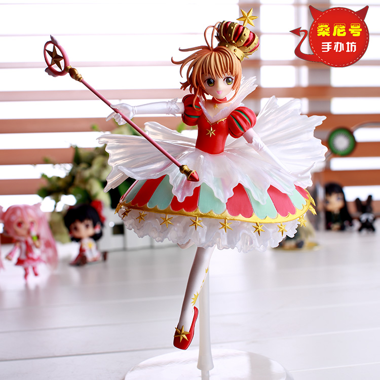 NEW 27cm No base Anime Card Captor Sakura Mini Figures Kinomoto Sakura Daidouji Tomoyo PVC Action Figures Toys Cardcaptor 1set 14cm pvc japanese anime figure sakura kinomoto battle costume ver cardcaptor sakura figfix 008 action figure collectible