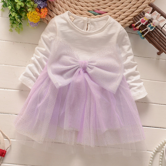 new 2016 spring autumn long sleeve princess girl dress lace big bow wedding party kids dresses baby clothes newborn fairy dress