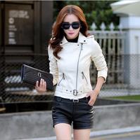 Высокое качество женщины кожаные куртки 2017 Плюс размер белые кожаные куртки женщины тонкий черный кожаный пиджак искусственной кожи куртк...