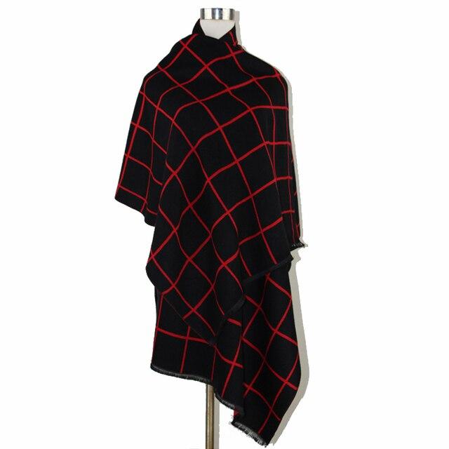 Черный красный классический плед обратимым кашемира пашмины платок зимы женщин толстые теплые мыс - сторона шаль шарф 185 * 65 см NP025