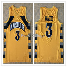 0dfacffff 3 Dwayne Wade College Marquette Golden Eagles Throwback Mens Basketball  Jersey Embroidery Stitched Customize any name and number