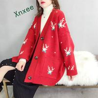 Xnxee 2019 Spring and Autumn Fashion Striped Knitting Trench Coat Women Street Style Gold Open Stitch Loose Casual Trench