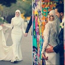 Charming Beaded Flowers Lace Mermaid Wedding Dresses Ivory Hijab Muslim Wedding Dress Long Sleeve Muslin Bridal Gowns WM40