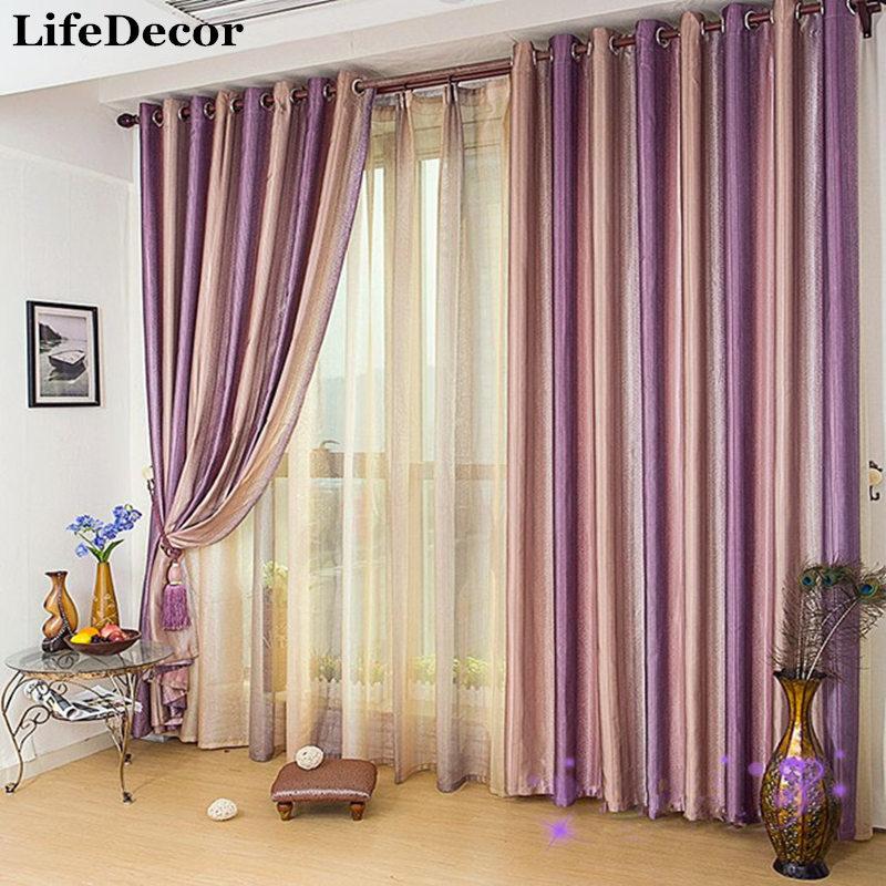 Nueva llegada multicolor raya de sombra ventana cortina de tela ...