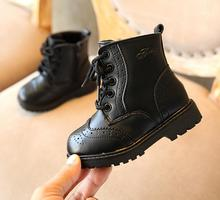 Kids leather shoes winter Genuine Leather Children's Martin Boots British Wind Boys Boots Korean Fashion Wild Lace-up Girls Boot