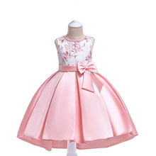 2019 Flower Girls Dresses For Kids Clothing Beaded Embroidery Wedding Girls Dresses For Children Party Trailing Mesh Bow Dress gold wire embroidery flower girl dress sequined mesh trailing girls wedding drag the floor princess party dress girls clothing