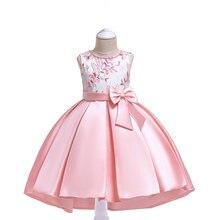 2019 платья для девочек с цветами детская одежда вышивкой из