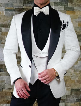 White Wedding Groom Suit Tuxedo 2018 New Designer Fashion Formal Men Suit Costume Homme Mariage Slim Fit Ternos Masculino