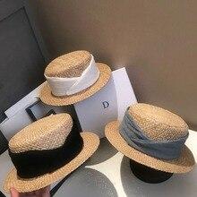 01903-fu7848514 Новая летняя соломенная лента ручной работы дамская шляпа Fedora Мужская женская шляпа Панама для отдыха