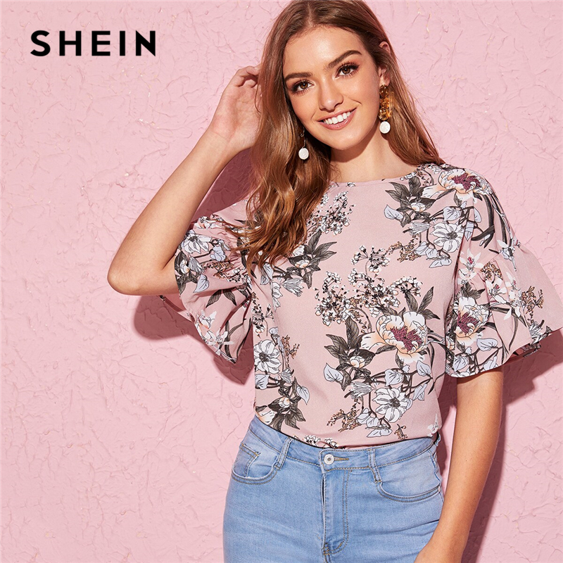 SHEIN Multicolor Flounce Sleeve Floral Print Boat Neck Top Blouse Women 2019 Summer Keyhole Back Ladies Bohemian Blouses